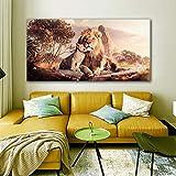 ganlanshu Cuadro En Lienzo Animal Lion Padre e Hijo modernposter y decoración para Sala de estar40x80cmPintura sin Marco