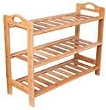 BirdRock Home 3 Tier Free Standing Shoe Rack with Handles - Natural Bamboo - Wood - Closets and Entryway - Storage Organizer Stand - Fits 9 Pairs of Shoes