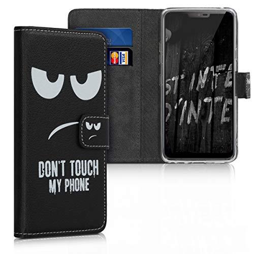kwmobile LG G7 ThinQ/Fit/One Hülle - Kunstleder Wallet Case für LG G7 ThinQ/Fit/One mit Kartenfächern & Stand - Don't Touch My Phone Design Weiß Schwarz