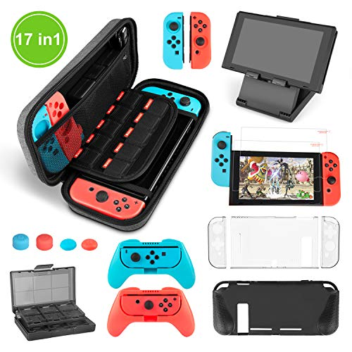Younikoo Nintendo Switch Zubehör Set - Beinhaltet Switch Ant Pattern Case / 24+2 Game-Card Case / 6 in1 Silikon Case / TPU Schutz-Case / Verstellbarer Standfuß / 2 Stück HD Displayschutzfolie(17 in 1)
