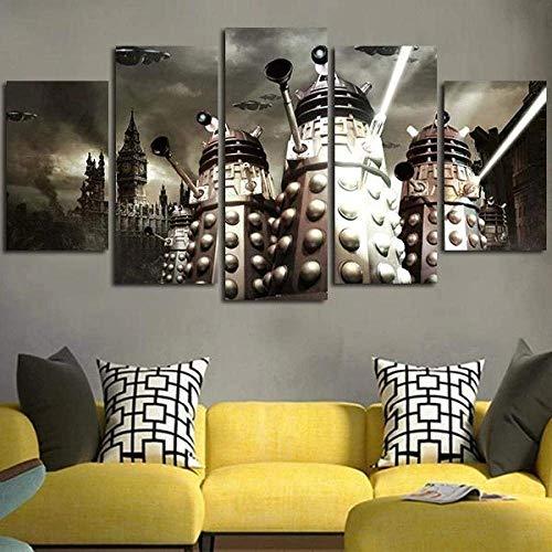 Airxcn Drucke Auf Leinwand 5 Teil Panels Wandkunst Druck Leinwand Malerei Doctor Who Dalek Wanddekoration Raum Poster Leinwand