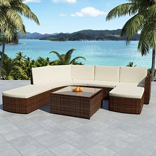 WEILANDEAL Conjunto de Muebles de Jardin 17 Piezas de Poli Ratan Marron Conjunto de Acero inoxidableDimensiones del Sofa de Esquina: 135 x 67 x 69 cm (Anchura x Profundidad x Altura)