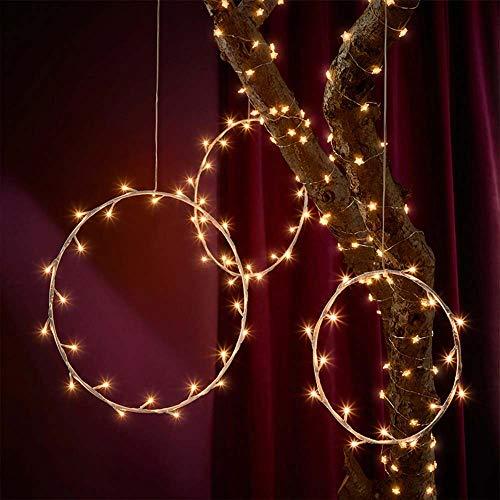 Wankd 35er LED Lichterkranz, Runden, Warmweiß, Batteriebetrieben, Dekorative LED-Lichter aus Eisendraht zum Aufhängen, In-Outdoor Hochzeit Party (1PCS)