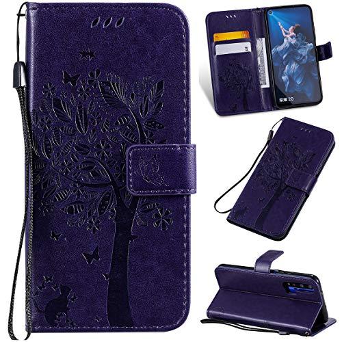 SHUYIT Huawei Honor 20 / Honor 20 Pro/Nova 5T Hülle, Baum katze Muster PU Leder Hülle Brieftasche Flip Cover Case Tasche Schutzhülle Handyhüllen für Huawei Honor 20 / Honor 20 Pro/Nova 5T Schale