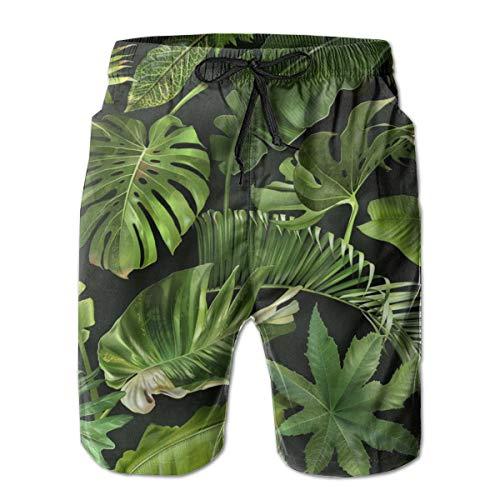 Bañador para hombre de secado rápido con hojas tropicales verdes Negro blanco XL