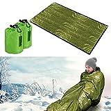 Mantas de Supervivencia,Saco de Emergencia Dormir,Bolsa de Dormir de Supervivencia, Reutilizable, para Acampar, Actividades al Aire Libre, Acampada(Verde)
