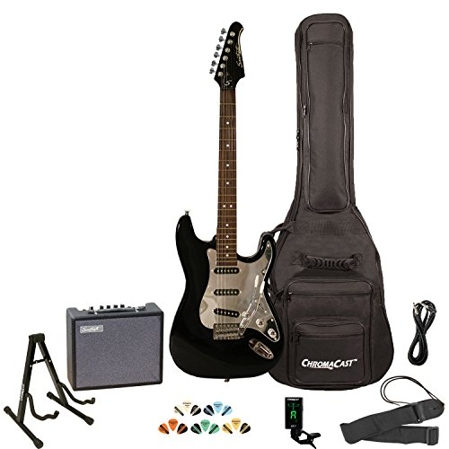 Sawtooth Black Electric Guitar w/Chrome Pickguard - Includes: Accessories, Amp, Gig Bag & Lesson