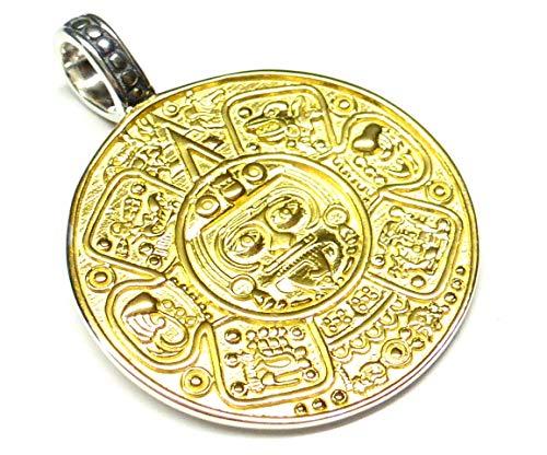 Anhänger Silber vergoldet, Motiv Maya Kalender, aus 925 Sterlingsilber gearbeitet, Vorderseite vergoldet, Geschenk Schmuck Unisex, Schutzsymbol