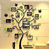Wall Stickers 3D Acrylic Photo Frames Family Tree PVC Wall Decal Background DIY Photo Gallery Frame Decor Sticker Home Living Room Sofa TV Bedroom Art Craft Easy to Install & Apply 82.4X100cm (Mint Green)