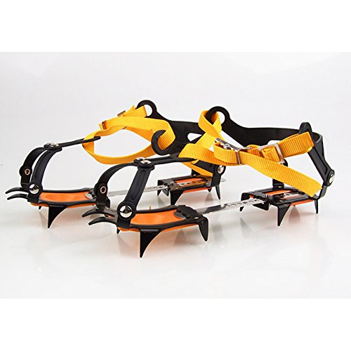eForCrazy Adjustable ice grips gear Strape Type Anti-slip Ski Belt Hiking Outdoor Climbing 10 Crampon for Hiking Shoes and Boots
