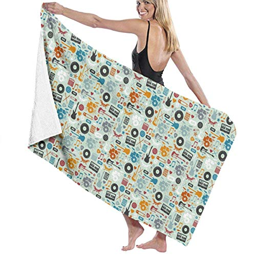 MJDIY Cassette Tapes Strand, Spa Zwembad Badpak Super Absorbens Wraps Zachte Oversized Badhanddoek 31.5x51.2 Inches/80x130cm