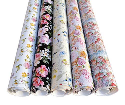 artwelten Geschenkpapier Rosen Blumen 5 Rollen zu je 2 mx70cm Geburtstagspapier im romantischen Stil Geschenkverpackung Rose Taufe Hochzeit Geburtstag