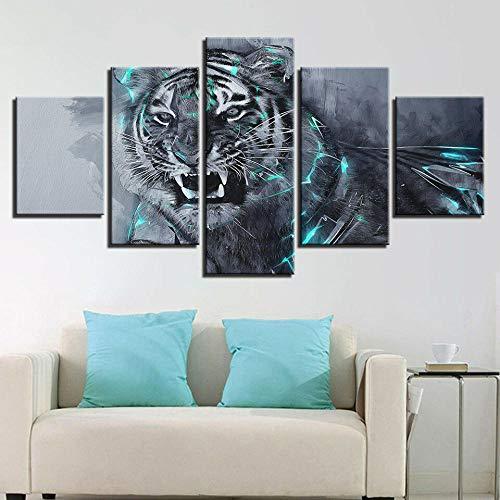 GHYTR Impresión En Lienzo 5 Piezas Cuadro sobre Lienzo Luces De Tigre Blanco Enojado Imágenes XXL 150X80Cm Oficina Sala De Estar O Dormitorio Decoración del Hogar Arte De Pared