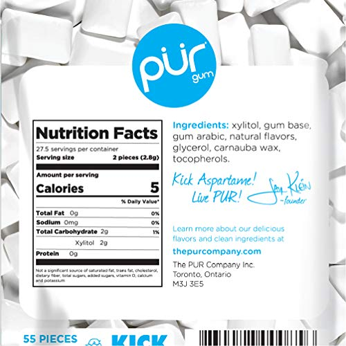 PUR 100% Xylitol Chewing Gum, Peppermint, Sugar-Free + Aspartame Free, Vegan + non GMO, 55 Count (Pack of 3)