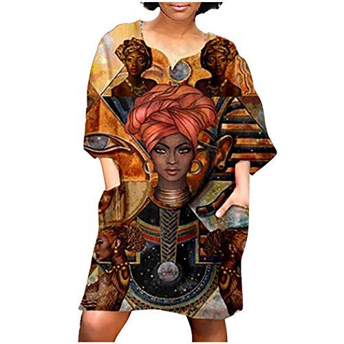 Zzbeans Sommerkleid Damen Kurz, Afrikanische Kleider Damen Elegant Vintage Kleider Damen Tshirt Kleid Damen Kurzarm Lose Lässiges übergröße...
