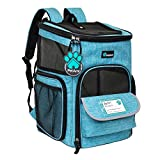PetAmi Pet Carrier Backpack for Small Cats, Dogs, Puppies   Airline Approved   Ventilated, 4 Way Entry, Safety and Soft Cushion Back Support   Collapsible for Travel, Hiking, Outdoor (Turquoise)