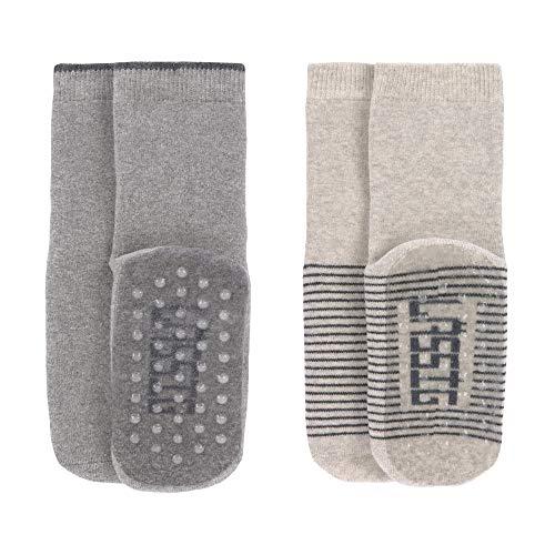 LÄSSIG Baby Kinder Anti-Rutsch Socken (2er Pack) Grey/Beige, Größe: 27-30