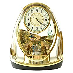 CAO-Decor Crystals Mantel Quartz Clocks, Tone Mantel Clock, with Rotating Pendulum Stylish Rhythm Mantel Clock Gold Gilt, Silent Desk Table Shelf Clock, 31.326.2cm