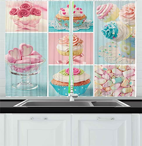 """Ambesonne Coffee Kitchen Curtains, Collage of Cupcakes and Marshmallows in Pastel Colors Photos, Window Drapes 2 Panel Set for Kitchen Cafe Decor, 55"""" X 39"""", Blue Pink"""