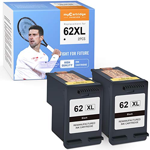 myCartridge PHOEVER Remanufactured Ink Cartridge Replacement for HP 62XL 62 XL C2P05AN C2P07AN for OfficeJet 200 250 Envy 5660 7640 7645 5740 5540 5642 5746 5642 5643 5745 5640 8000 (Black, 2-Pack)