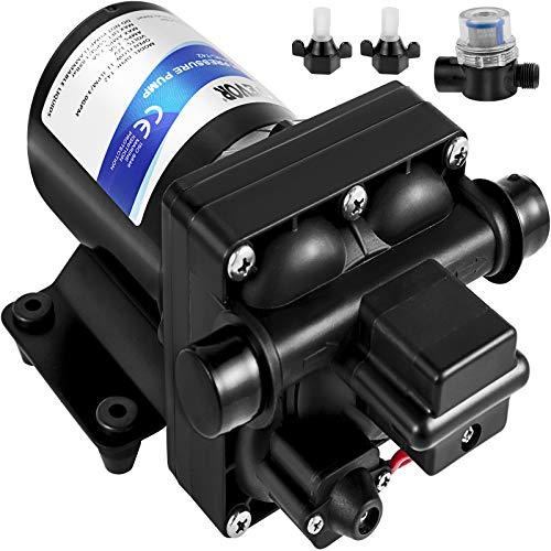 VEVOR 12 V Hochdruck-Membrane Wasserpumpe, 3 GPM Hochdruckmembran Wasserpumpe aus Polypropylen, Max. Druck 45 psi Wasserpumpe Selbstansaugend, mit Eingebautem Rückschlagventil, für Wohnwagen, Boot