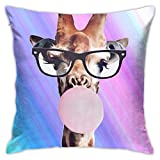 Mixcder Cute Giraffe Balloon Bubble Pink Throw Pillow Covers Funny Gifts Sofa Home Car Bedroom Outdoor Bed 18x18inch
