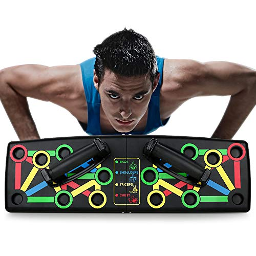 FLOFIA 14 en 1 Push Up Tabla Board Plagable Tabla Flexiones Multifuncion Push Up Board Tablero de Codos Sistema Fitness Entrenamiento de Fuerza Muscular del Cuerpo Ejercicio Gimnasio Hogar Deporte