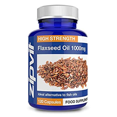 Flaxseed Oil Capsules 1000mg | 120 Softgels | Highest Strength & Purity | Organic | 4 Months Supply by Zipvit