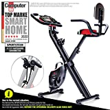 Sportstech F-Bike X100 fitness bike with intelligent resistance band system 4 KG inertia - <span class='highlight'>exercise</span> indoor bike with tablet holder 4 levels - two-way magnetic brake foldable (with backrest)