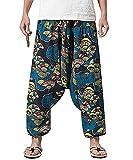 PERDONTOO Men Women Cotton Harem Yoga Baggy Genie Boho Pants (30, Style 3)