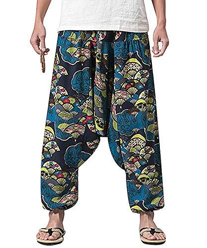 PERDONTOO Men Women Cotton Harem Yoga Baggy Genie Boho Pants (29, Style 3)