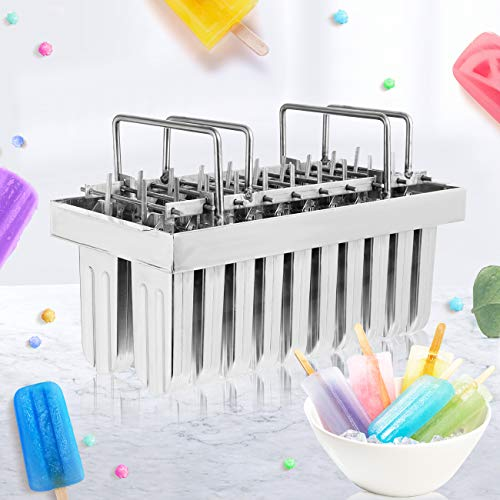 WICHEMI 20PCS Stainless Steel Ice Cream Pop Mould Ice Lolly Popsicle Mould Frozen Popsicle Maker Commercial Lolly Moulds Ice Cream Stick Holder with Wooden Sticks, Plastic Bag and Cleaning Brush