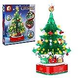 SICI Árbol de Navidad con luz y música, juego de 486 piezas, giratorio, modelo de bloques de construcción compatible con árbol de Navidad Lego