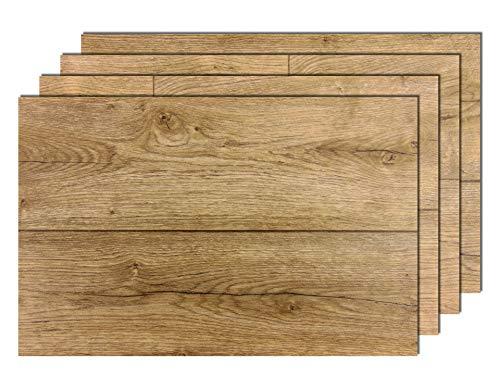 4er Premium Tischsets Holzoptik Eiche Antik Braun | abwaschbar | PVC-CV | je ca. 43,5x28,5cm | je ca. 2,0mm | je ca. 160g | Gastro-Qualität | bazaaro