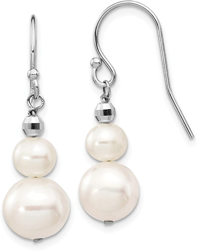14k White Gold 6 9mm Semi Round Freshwater Cultured Pearl Graduated Drop Dangle Chandelier Earrings Fine Jewelry For Women Gifts For Her