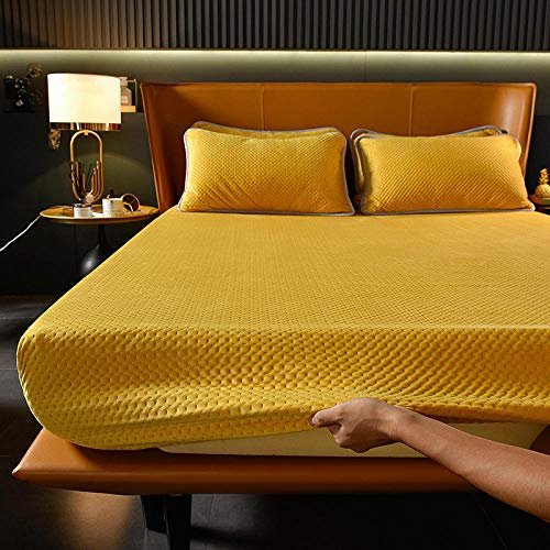 LCFCYY Bedding Sábana Bajera Ajustable,Sábanas Ajustadas de Terciopelo de Cristal cálido de Invierno,Hotel Casa de Familia Protector de colchón Antideslizante de Color sólido Yellow 150x200cm