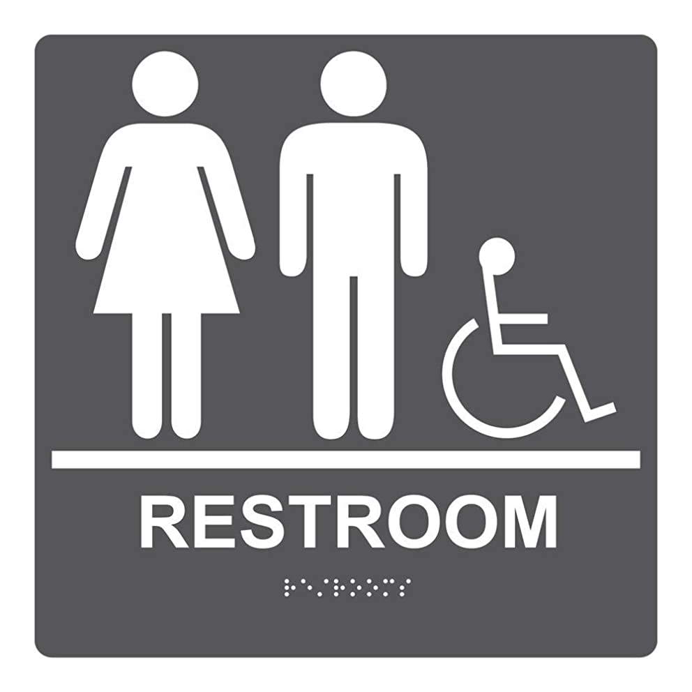 metal Signs ADA Unisex/Family/Assisted Restroom Sign, 12 x 3 in. with English + Braille, Charcoal Gray