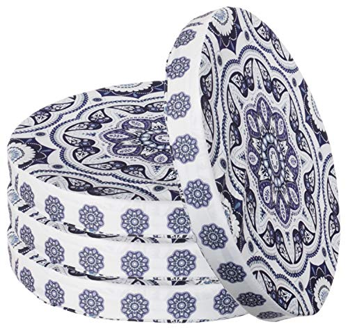 Asiento Cojín redondo en Ornament Design Silla cojín asiento acolchado Cojín de suelo (tamaño: aprox. 40cm de diámetro x 4cm, diseño 1, 4er-Vorteilspaket