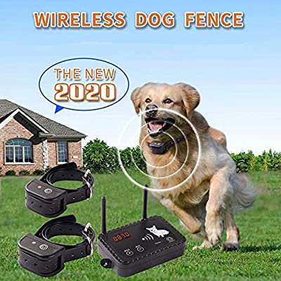 JUSTPET Wireless Dog Fence Pet Containment System, Dual Antenna Vibrate/Shock Dog Fence, Adjustable Range Up to 900 Feet, Signal Consistent No Randomly Correction