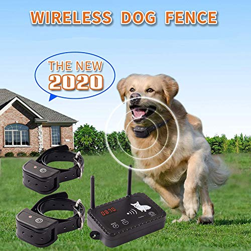 JUSTPET Wireless Dog Fence Pet Containment System, Dual Antenna Vibrate/Shock...