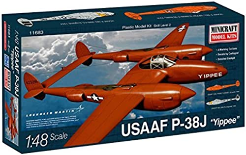 Minicraft Plastic Airplane Model Kit Lockheed Martin USAAF P-38J Yippee by Minicraft Models