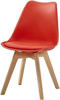 Silla FANGQIAO Shop Comedor Moderna de Madera, Comedor Blanca/Cuero. Estilo escandinavo. Sala, Comedor, Hotel, Cocina. Silla-11.13 (Color : Red)