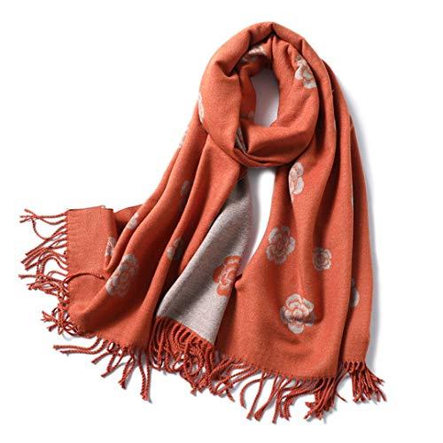 JLDJWSJD Winter-Schal für Frauen Klassische Blumendruck Tücher Und Wrap dicke warme Pashmina Schals Quasten WJ102-5 orange
