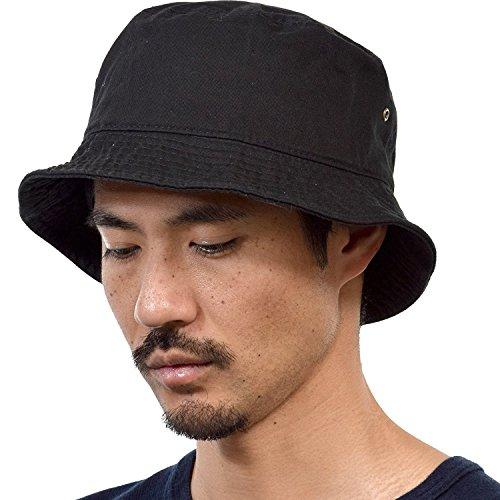(ニューハッタン) NEWHATTAN CLASSIC BUCKET HAT クラシック バケットハット 無地 シンプル (L/XL, black) [並行輸入品]