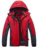 Wantdo Women's Mountain Waterproof Fleece Ski Jacket Windproof Rain Jacket, XX-Large, Red