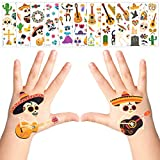 Apipi 30 Sheet Mexican Fiesta Temporary Tattoos- 300+ Pcs Different Patterns Fiesta Cactus Party Tattoos Favor for Girls Boys Kids Mexican Decor, Party Supplies