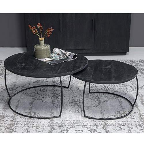 BRIX 2er Set Couchtisch Emma Mangoholz Metall schwarz Sofatisch Tischset Anstelltisch