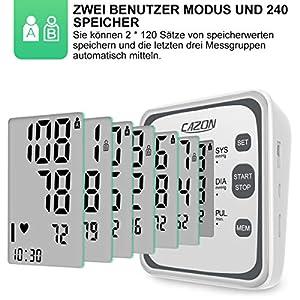 CAZON Oberarm Blutdruckmessgeräte Digital Vollautomatisch Blutdruckmessgerät und Pulsmessung Blutdruckmessung mit Arrhythmie Anzeige LCD Display,22-40cm große Manschette, 2x120 Dual-User-Modus