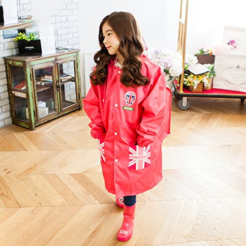 Vestes anti-pluie QFF Boys and Girls Child Raincoat Étudiant Soft Thicker Poncho Lovely Waterproof Big Hat (Couleur : Rose, Taille : M)