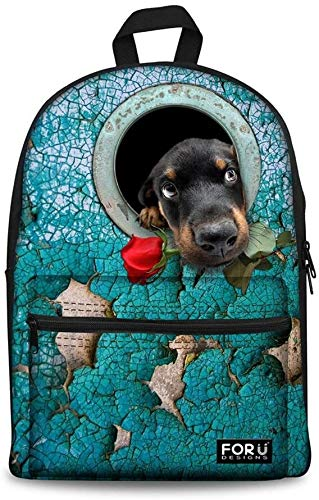 LQXZJ Animales clásica Mochila de Lona Galaxy Lobo Diseño Niños Schoolbag Niños La Bolsa de Libros (Color : Flower Dog 6)